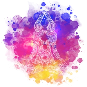 Woman ornate silhouette sitting in lotus pose. Meditation concept.